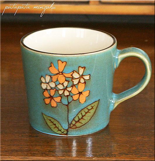 画像1: フラワー マグカップ ブルー