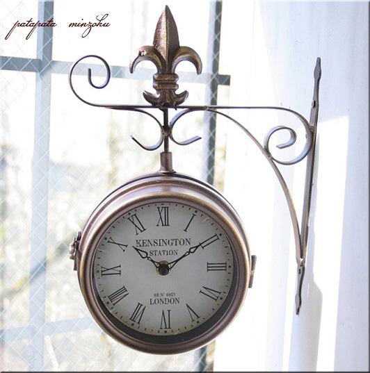 画像1: アンティーク 壁掛時計 ダブルフェイス S アンティークゴールド