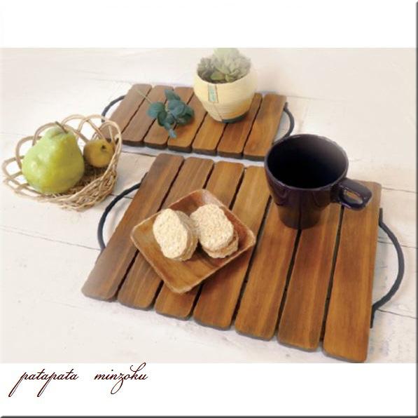 画像1: 木製 ハンドルトレイ アンティーク調 2サイズ