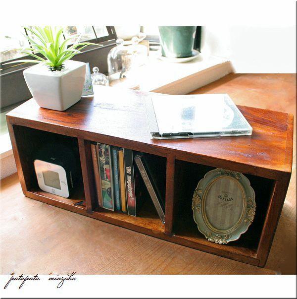 画像1: 木製 シンプル CDラック 無垢 アンティーク調 シーシャムウッド