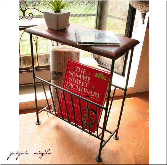 画像1: 木製 シーシャムウッド マガジンテーブル マガジンスタンド ソファサイドテーブル マガジンラック