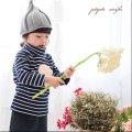 とんがり帽子 とんがりニット帽 グレー 子供用 キッズ ニット 帽子
