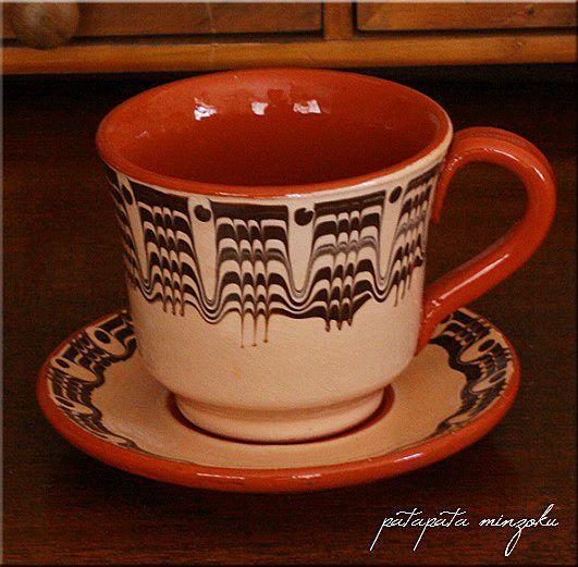 画像1: トロヤン陶器  カップ & ソーサー ベージュ