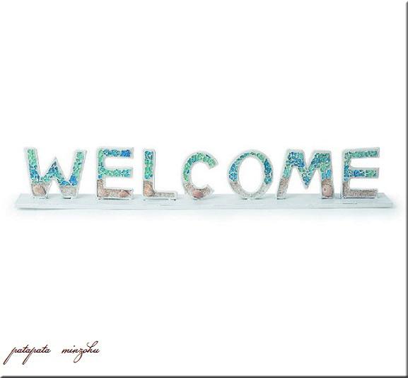 画像1: ウェルカム ビーチモザイク サインボード ディライト