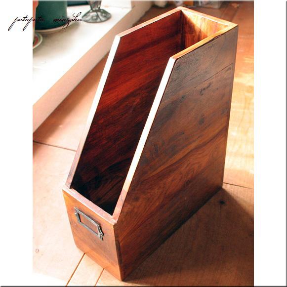 画像1: 木製 ファイルボックス 本立て シーシャムウッド