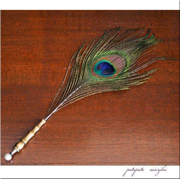 画像1: フェザーペン 羽ペン ピーコック ボールペン 孔雀 クジャク 羽根ペン