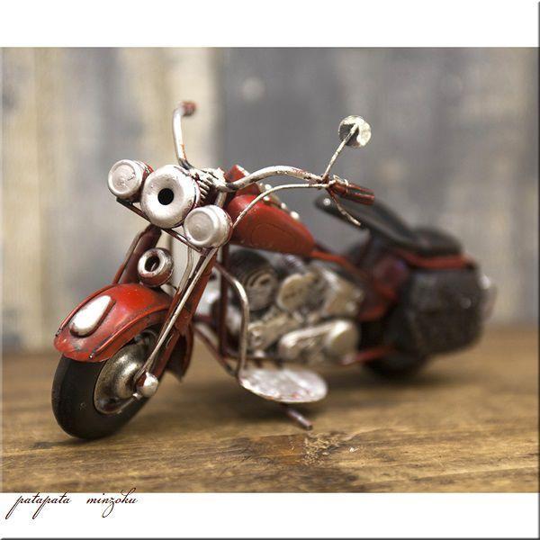 画像1: オールド バイク レッド ヴィンテージバイク ブリキ アンティーク調