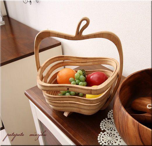 画像1: 木製 りんごバスケット テーブルバスケット 折りたたみ式 フルーツトレイ
