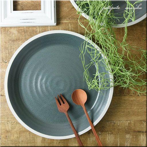 画像1: 美濃焼 バイカラーアイスブルー プレート 27.5cm  陶器 プレート 皿 大皿