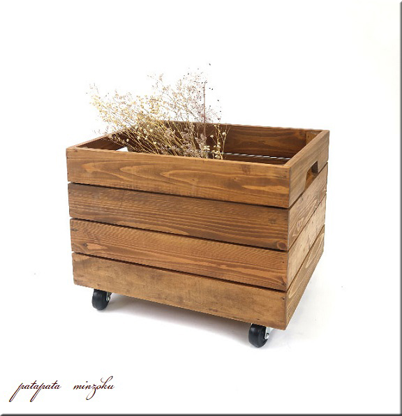 画像1: 木製 キャスターボックス S A4