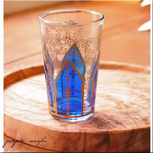 画像1: モロッコグラス  ミントティーグラス モスク ブルー モロッコ グラス コップ