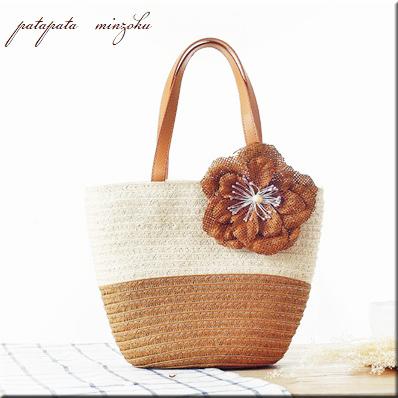 画像1: かごバッグ ブラウン 花飾り 花 バッグ ミニバッグ ストローバッグ ハンドバッグ