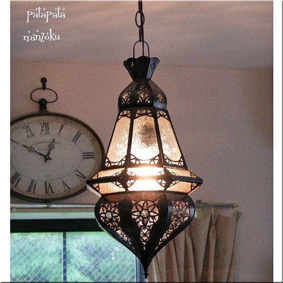 画像1: モロッコ ランタンランプ ガラスランプ ティアー ホワイト