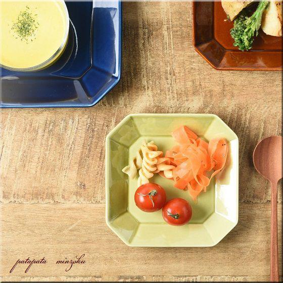 画像1: 美濃焼 八角 プレート S オリーブグリーン OCTO(オクト) 陶器 アースカラー