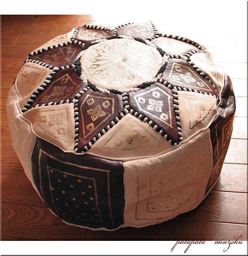 画像1: プフ オットマン 本革 ブラウン&ベージュ モロッコ スツール クッション 刺繍