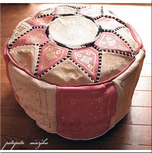 画像1: プフ オットマン 本革 ピンク&ベージュ モロッコ スツール クッション 刺繍