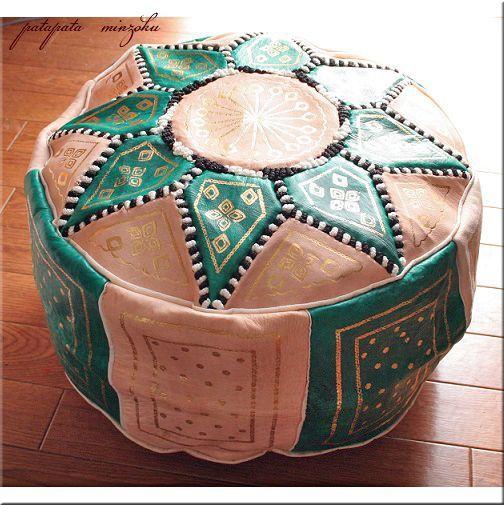 画像1: プフ オットマン 本革 グリーン&ベージュ モロッコ スツール クッション 刺繍