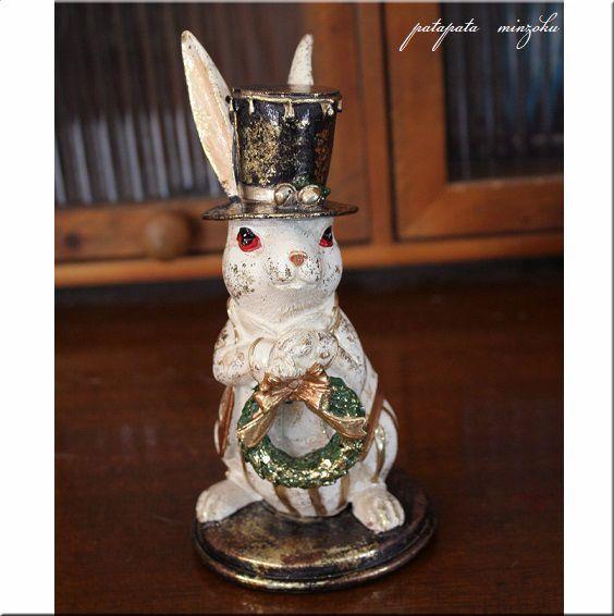画像1: アンティークラビット リース ラビット ウサギ