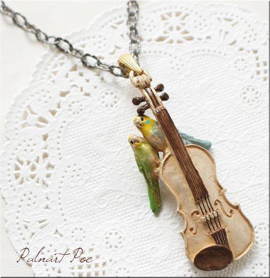 画像1: 愛の挨拶 ネックレス バイオリン セキセイインコ