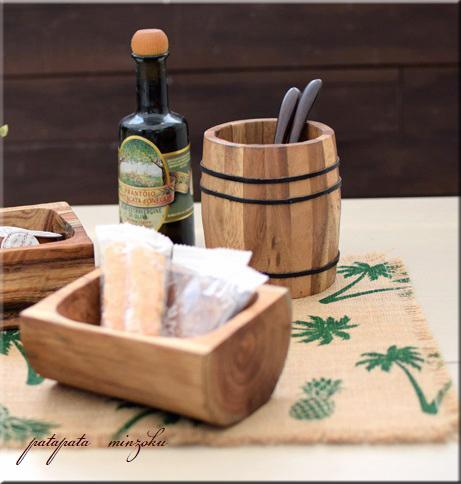 画像1: 木製 アカシア 樽型 小物入れ
