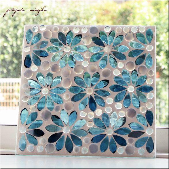 画像1: モザイクガラスプレート アクアフラワー
