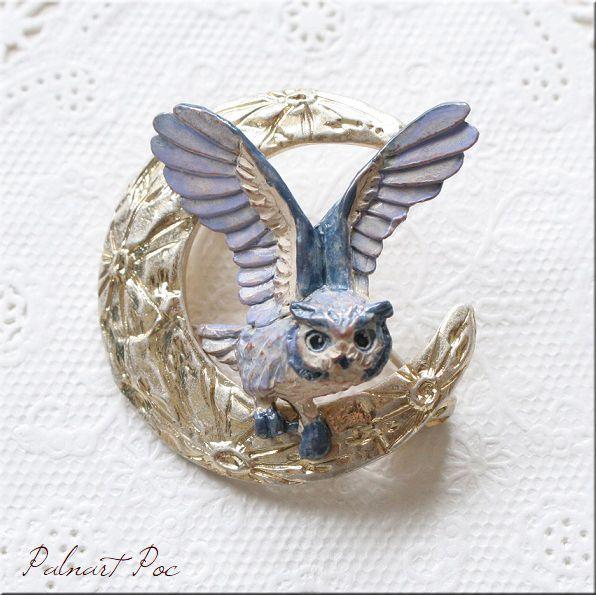 画像1: ムーンレィス ブローチ フクロウ