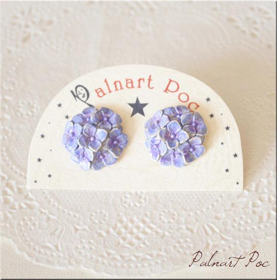 画像1: 梅雨空ピアス アジサイ ピアス 紫陽花