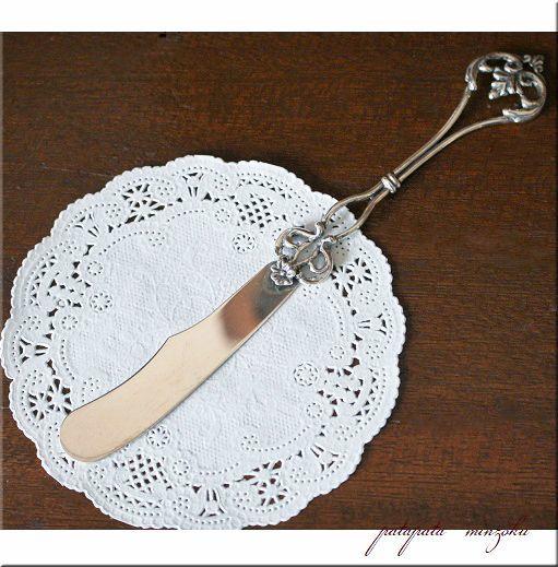 画像1: 銀のフラワー バターナイフ デコレクト イタリア製