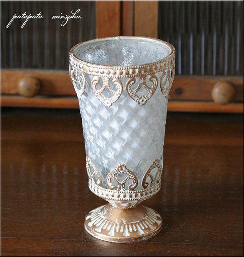 画像1: Loire ロワールティーライトホルダーホワイト フラワーベース ガラスカップスタンド
