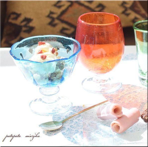 画像1: イラン アイスクリーム グラス ブルー イランガラス 吹きガラス