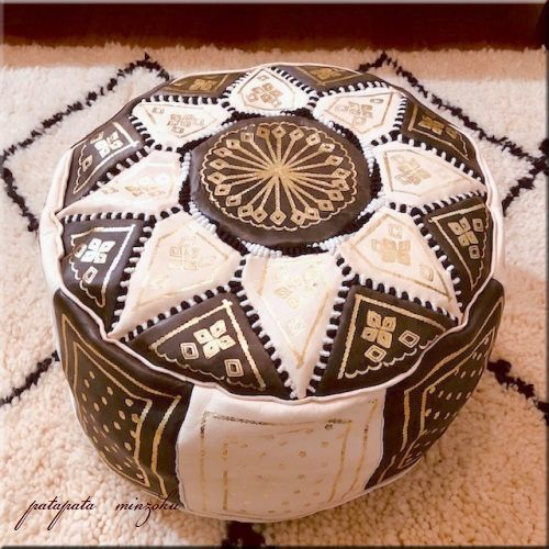 画像1: プフ オットマン 本革 ダークブラウン &ベージュ モロッコ スツール クッション 刺繍