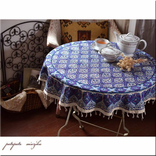 画像1: イスファハン更紗 ラウンド トップ テーブルクロス パープル イラン ペルシャ