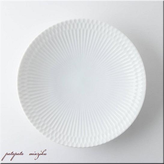 画像1: 小田陶器 さざなみ 21cm 深皿 白 美濃焼 陶器 皿
